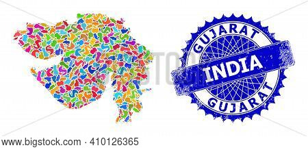 Gujarat State Map Abstraction. Blot Mosaic And Scratched Seal For Gujarat State Map. Sharp Rosette B