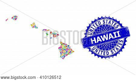 Hawaii State Map Vector Image. Spot Pattern And Unclean Stamp Seal For Hawaii State Map. Sharp Roset