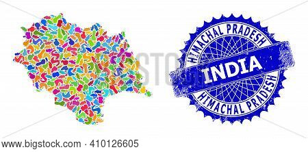 Himachal Pradesh State Map Flat Illustration. Blot Collage And Corroded Mark For Himachal Pradesh St