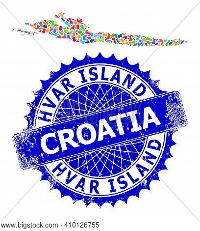 Hvar Island Map Vector Image. Blot Mosaic And Rubber Seal For Hvar Island Map. Sharp Rosette Blue Se