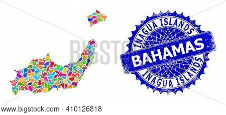 Inagua Islands Map Template. Spot Collage And Grunge Stamp For Inagua Islands Map. Sharp Rosette Blu