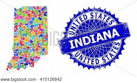 Indiana State Map Template. Spot Collage And Rubber Stamp Seal For Indiana State Map. Sharp Rosette