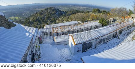Montanchez, Spain - Jan 11th, 2021: Snow-covered Montanchez Cemetery. Awarded With The Prize For Spa