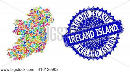Ireland Island Map Abstraction. Blot Mosaic And Grunge Mark For Ireland Island Map. Sharp Rosette Bl