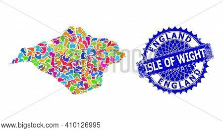 Isle Of Wight Map Template. Splash Collage And Scratched Mark For Isle Of Wight Map. Sharp Rosette B