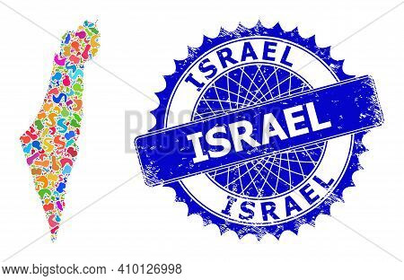 Israel Map Flat Illustration. Blot Mosaic And Rubber Stamp Seal For Israel Map. Sharp Rosette Blue S