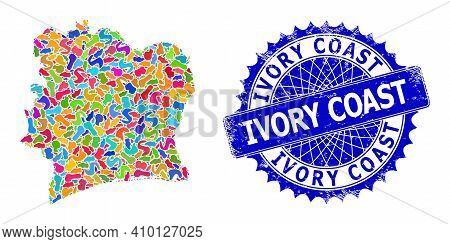 Ivory Coast Map Vector Image. Splash Collage And Distress Stamp For Ivory Coast Map. Sharp Rosette B