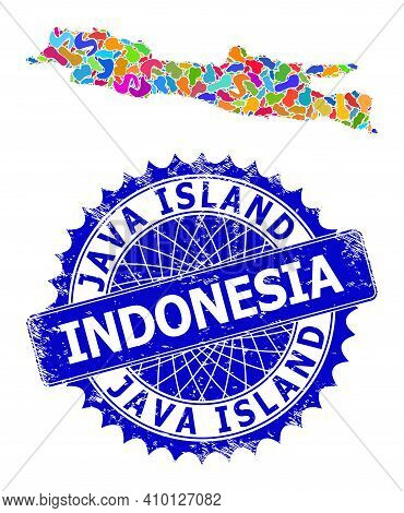 Java Island Map Flat Illustration. Splash Collage And Rubber Stamp Seal For Java Island Map. Sharp R