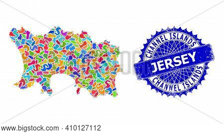 Jersey Island Map Abstraction. Splash Mosaic And Corroded Stamp Seal For Jersey Island Map. Sharp Ro