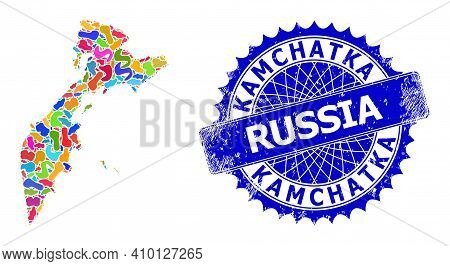 Kamchatka Map Abstraction. Splash Collage And Unclean Seal For Kamchatka Map. Sharp Rosette Blue Sta