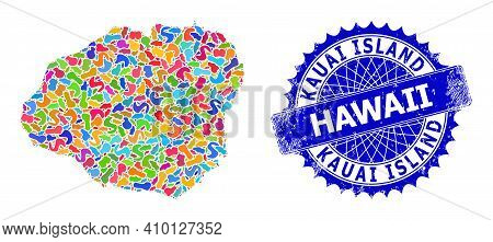 Kauai Island Map Vector Image. Splash Pattern And Distress Stamp For Kauai Island Map. Sharp Rosette