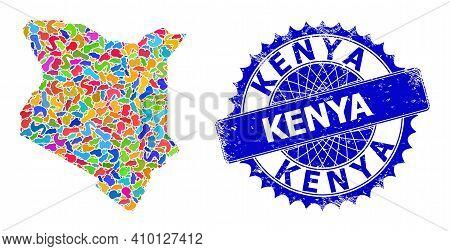 Kenya Map Flat Illustration. Splash Mosaic And Rubber Stamp Seal For Kenya Map. Sharp Rosette Blue S