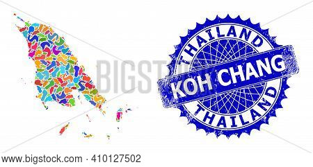 Koh Chang Map Flat Illustration. Spot Collage And Unclean Seal For Koh Chang Map. Sharp Rosette Blue