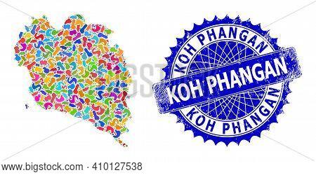 Koh Phangan Map Flat Illustration. Spot Collage And Unclean Mark For Koh Phangan Map. Sharp Rosette