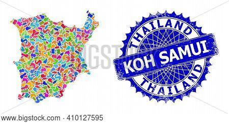 Koh Samui Map Vector Image. Splash Collage And Grunge Seal For Koh Samui Map. Sharp Rosette Blue Sta