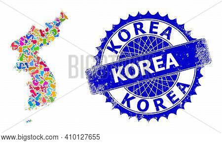 Korea Map Vector Image. Spot Collage And Unclean Mark For Korea Map. Sharp Rosette Blue Stamp With T