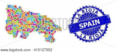 La Rioja Of Spain Map Abstraction. Spot Collage And Distress Badge For La Rioja Of Spain Map. Sharp