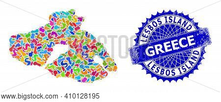 Lesbos Island Map Vector Image. Spot Mosaic And Rubber Watermark For Lesbos Island Map. Sharp Rosett