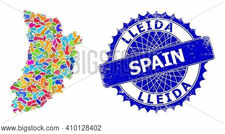 Lleida Province Map Template. Blot Mosaic And Rubber Stamp For Lleida Province Map. Sharp Rosette Bl