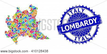 Lombardy Region Map Vector Image. Splash Collage And Distress Stamp Seal For Lombardy Region Map. Sh