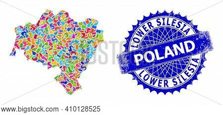 Lower Silesia Province Map Template. Spot Mosaic And Corroded Mark For Lower Silesia Province Map. S