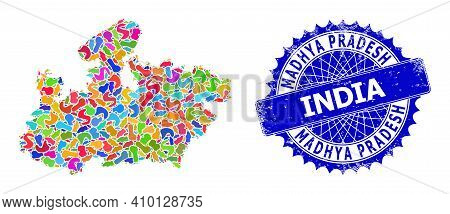 Madhya Pradesh State Map Vector Image. Splash Mosaic And Unclean Stamp Seal For Madhya Pradesh State