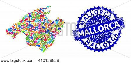 Mallorca Map Abstraction. Splash Pattern And Grunge Badge For Mallorca Map. Sharp Rosette Blue Badge