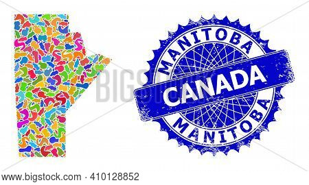 Manitoba Province Map Flat Illustration. Splash Pattern And Rubber Mark For Manitoba Province Map. S