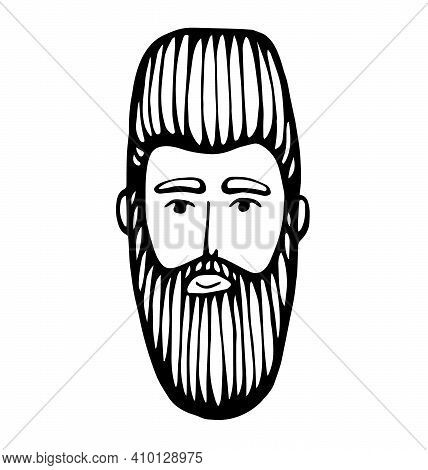 Hipster Head With Beard. Hand-drawn Doodle. Vector Illustration - Stock Vector. Hand Drawn Cartoon C