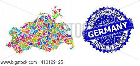Mecklenburg-vorpommern Land Map Vector Image. Splash Collage And Grunge Mark For Mecklenburg-vorpomm