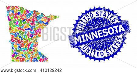 Minnesota State Map Flat Illustration. Blot Mosaic And Rubber Seal For Minnesota State Map. Sharp Ro