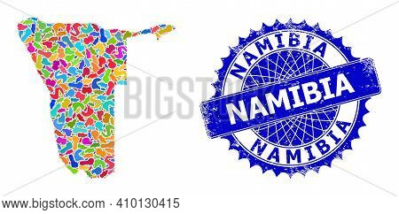 Namibia Map Template. Blot Pattern And Rubber Stamp Seal For Namibia Map. Sharp Rosette Blue Stamp S