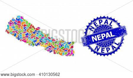 Nepal Map Vector Image. Spot Collage And Grunge Stamp For Nepal Map. Sharp Rosette Blue Stamp With T