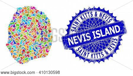 Nevis Island Map Template. Spot Mosaic And Grunge Stamp For Nevis Island Map. Sharp Rosette Blue Sta