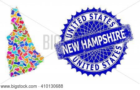 New Hampshire State Map Vector Image. Splash Collage And Distress Watermark For New Hampshire State