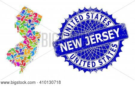 New Jersey State Map Template. Splash Mosaic And Rubber Seal For New Jersey State Map. Sharp Rosette