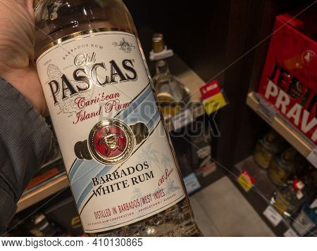 Belgrade, Serbia - February 23, 2021: Logo Of  Old Pascas White Rum Club On Bottles For Sale In Belg