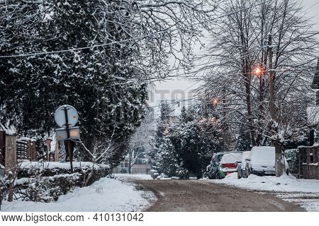 Pancevo, Serbia - January 17, 2021: Residential Street Of Pancevo, Vojvodina, Serbia, Covered In Sno