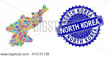 North Korea Map Template. Blot Mosaic And Corroded Seal For North Korea Map. Sharp Rosette Blue Seal