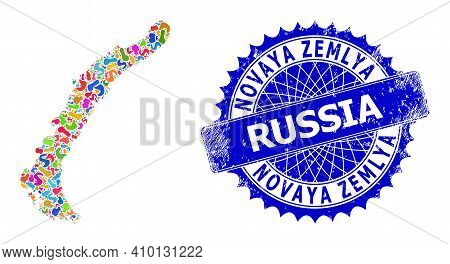 Novaya Zemlya Islands Map Abstraction. Blot Mosaic And Rubber Stamp For Novaya Zemlya Islands Map. S