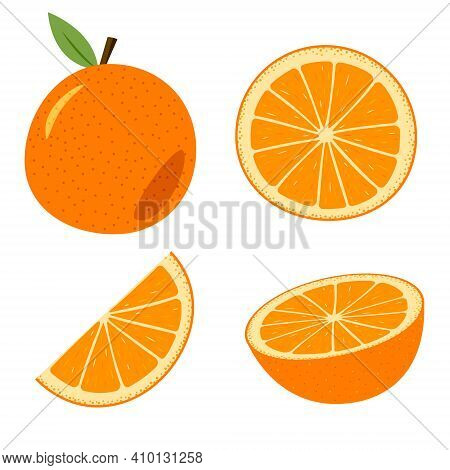 A Set Of Orange, Whole And Cut. Colored Cartoon Orange Isolated Objects On A White Background.