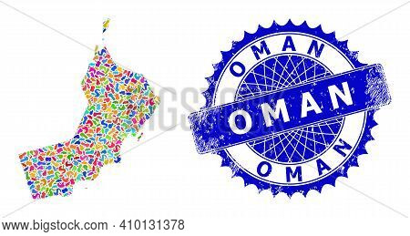 Oman Map Vector Image. Blot Mosaic And Corroded Seal For Oman Map. Sharp Rosette Blue Seal With Text