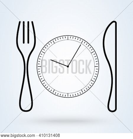 Lunch Time Linear Icon. Dinner Break. Thin Line Illustration. Afternoon Business Meeting. Business L