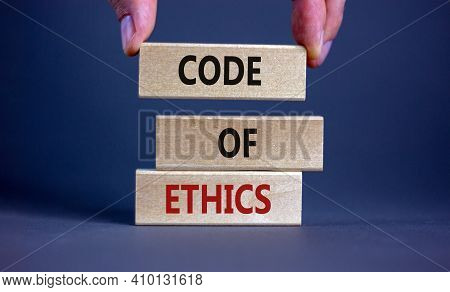 Code Of Ethics Symbol. Concept Words 'code Of Ethics' On Wooden Blocks On A Beautiful Grey Backgroun