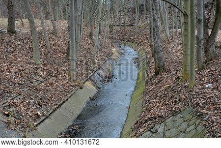 Expensive Solution Of Fortification And Straightening Of The Bank Into A Channel Lined With Concrete