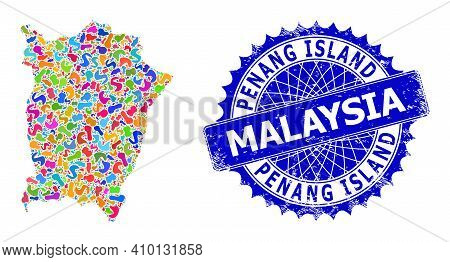 Penang Island Map Vector Image. Spot Mosaic And Corroded Watermark For Penang Island Map. Sharp Rose