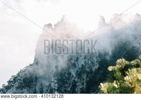 View Of Mount Ai-petri In The Fog. Crimea Peninsula, Russia