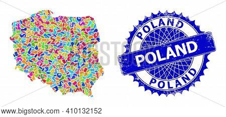 Poland Map Vector Image. Splash Collage And Scratched Watermark For Poland Map. Sharp Rosette Blue B