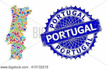 Portugal Map Template. Spot Collage And Corroded Stamp Seal For Portugal Map. Sharp Rosette Blue Sta