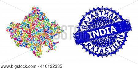 Rajasthan State Map Flat Illustration. Splash Mosaic And Grunge Stamp For Rajasthan State Map. Sharp